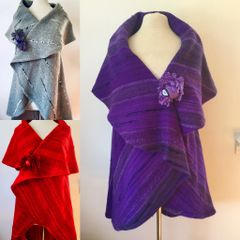 Three (3) Handwoven Capes. Purple, Red, and Gray.