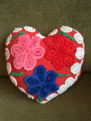 Vintage Chenille Heart Pillow