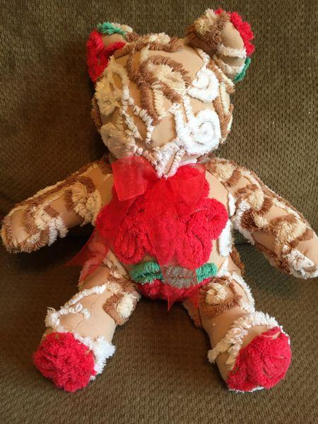 Brown Red Flower Chenille Teddy Bear