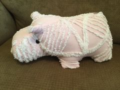 Pink & White Vintage Chenille Hippo