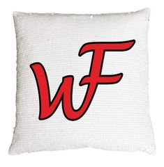 White/Red Sequin pillow