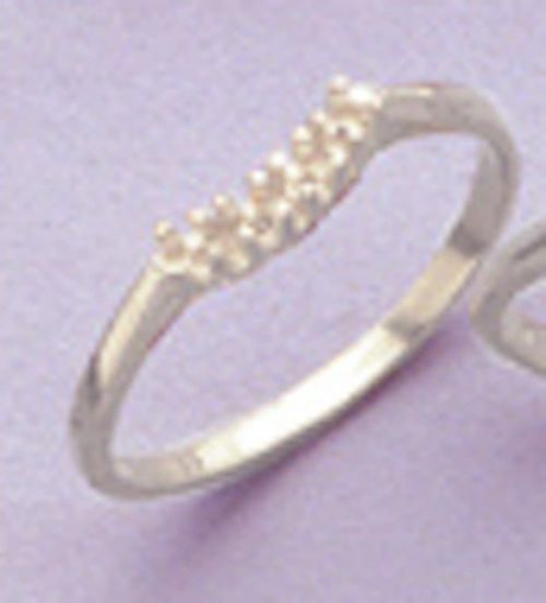4-Stone Round Sterling Silver Pre-Notched Curved Wedding Band Setting Size 6-9