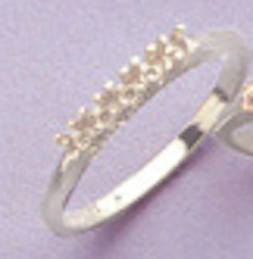 5-Stone Round Sterling Silver Pre-Notched Wedding Band Setting Size 4-9