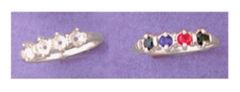 (4) 3mm Round Sterling Silver Deco Style Pre-Notched Mother's Ring Setting Size 5-9