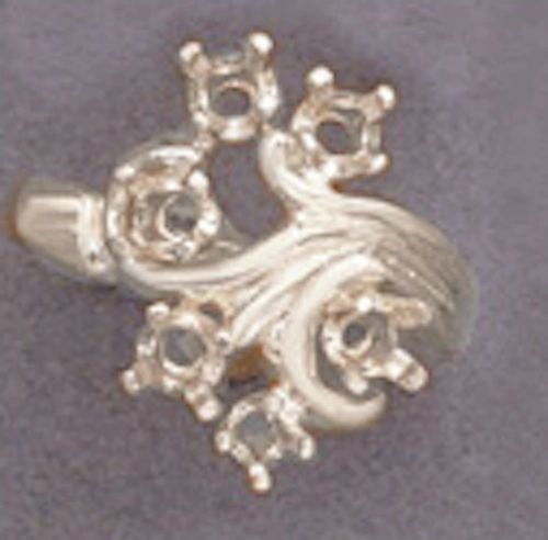 (6) 3mm Round Sterling Silver Fleur Style Pre-Notched Mother's Ring Setting Size 6-8