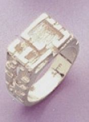 Sterling Silver Men's Nugget Style Blank Ring Shank Size 8-14