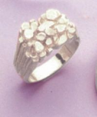 Sterling Silver Men's Nugget Style Blank Ring Shank Size 9-15