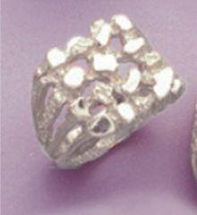 Sterling Silver Men's Nuggett Style Blank Ring Shank Size 8-14