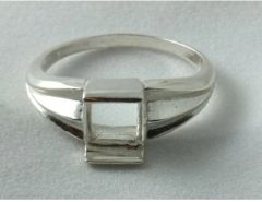 7x7mm Square Sterling Silver Plate Style Pre-Notched Ring Setting Size 7-11