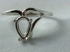 9x6mm Pear Sterling Silver Half Shank Style Pre-Notched Ring Setting Size 5-9