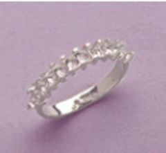 12-Stone Round Sterling Silver Pre-Notched Wedding Band Setting Size 6-8