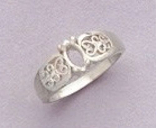6x3-12x6mm Sterling Silver Marquise Filigree Style Pre-Notched Ring Setting Size 5-9