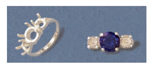 Three-Stone Round Sterling Silver Pre-Notched Style Setting Size 6-8