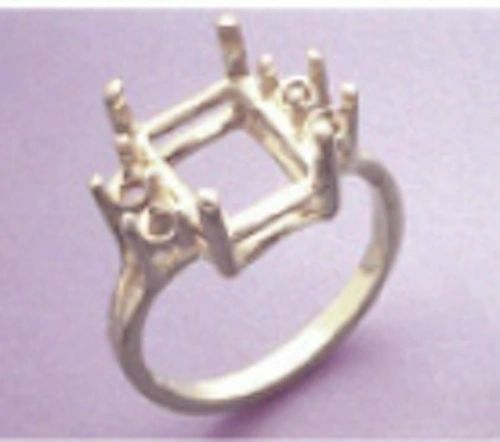 11x9-16x12mm Octagon Double Accented Sterling Silver Pre-Notched Ring Setting Size 6-9