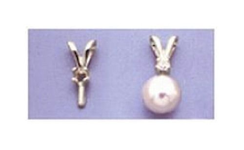 14kt Gold or Sterling Silver Pearl Accented Pendant Setting (2mm)