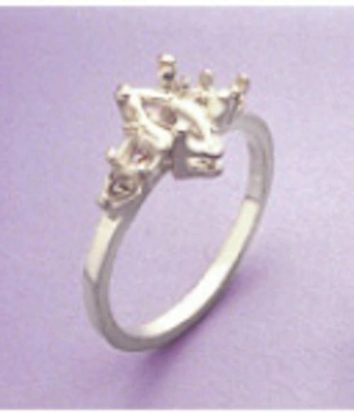 10x5-16x8mm Sterling Silver Marquise Double Side Accented Pre-Notched Ring Setting Size 5-8
