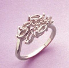 Sterling Silver 5x2.5mm Marquise Cluster Style Pre-Notched Ring Setting Size 6-8