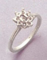 5x3mm Oval Sterling Silver Round Accented Cluster Style Pre-Notched Ring Setting Size 4-9