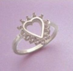 Heart with (14) 2mm Round Accents Cluster Silver Pre-Notched Ring Setting Size 7