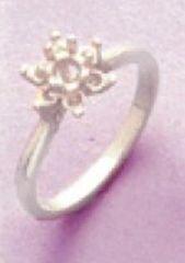 4mm Round Sterling Silver Round Accented Cluster Style Pre-Notched Ring Setting Size 4-8