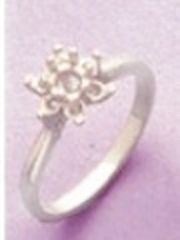 5mm Round Sterling Silver Round Accented Cluster Style Pre-Notched Ring Setting Size 4-9