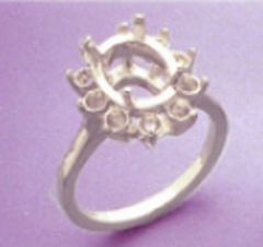 7x5-10x8mm Oval Sterling Silver Round Accented Cluster Style Pre-Notched Ring Setting Size 6-8