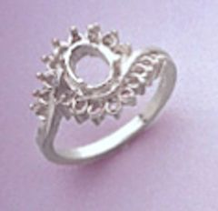 8x6mm Oval Sterling Silver Round Accented Cluster Style Pre-Notched Ring Setting Size 6-8