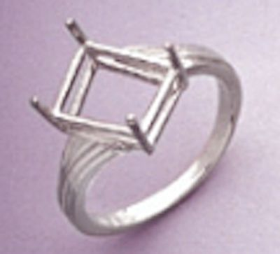 10x8-12x10mm Octagon Offset Style Sterling Silver Pre-Notched Ring Setting Size 6-9