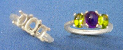 6x4-10x8mm Oval Cabochon Sterling Silver 3-Stone Style Pre-Notched Ring Setting Size 5-9