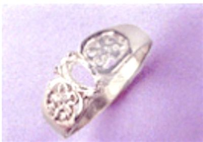 6x3-12x16mm Marquise Cabochon Sterling Silver Filigree Style Pre-Notched Ring Setting Size 5-9