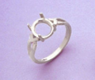 14X10-16x12mm Oval Cabochon Sterling Silver Vee-Shank Style Pre-Notched Ring Setting Size 5-9