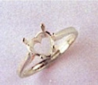 5x5-7x7mm Heart Style Sterling Silver Pre-Notched Ring Setting Size 5-9