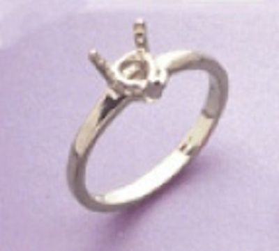 6x6mm Heart Style Sterling Silver Pre-Notched Ring Setting Size 4-9