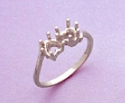 5x5mm Heart Friendship Style Sterling Silver Pre-Notched Ring Setting Size 6-8
