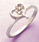 3mm Round Accented Sterling Silver Heart Style Pre-Notched Ring Setting Size 3-8