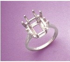 12x10-16x12mm Octagon Sterling Silver Pre-Notched Ring Setting Size 5-9