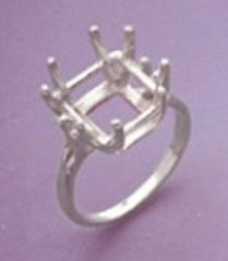 10x10mm or 11x11mm Square 8-Prong Sterling Silver Pre-Notched Ring Setting Size 5-9