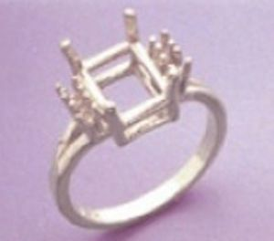 10x8mm Octagon Double Accented Sterling Silver Pre-Notched Ring Setting Size 3-12