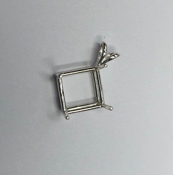 14kt Gold or Sterling Silver Square Cast Wire Pendant Setting (6x6-11x11mm)