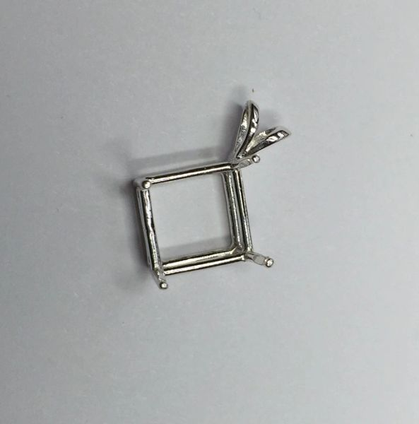 Sterling Silver Square Wire Pre-Notched Pendant Setting (6x6-11x11mm)
