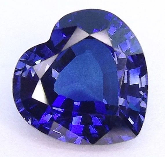 Heart Faceted AAA Lab Created Blue Sapphire #34 (4x4mm to 13x13mm)