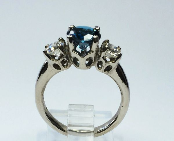 7mm Round London Blue Topaz, (2) 4.5mm Diamonds in 14kt White Gold Ring Size 6 1/2