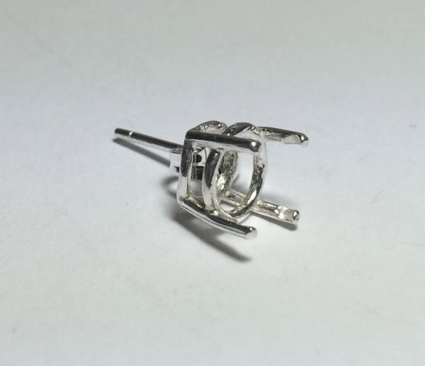 One Sterling Silver Round (4-Prong) Wire Pre-Notched Earring Setting (6.5-12mm)