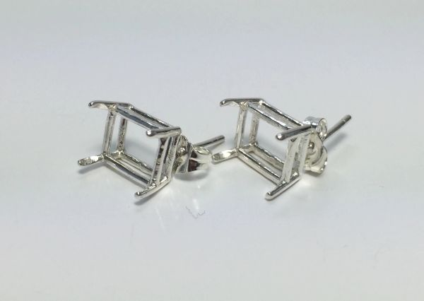 Two Sterling Silver Octagon (4-Prong) Wire Pre-Notched Earring Settings (5x3mm-12x10mm)