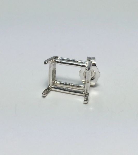 One Sterling Silver Octagon (4-Prong) Wire Pre-Notched Earring Setting (5x3mm-12x10mm)