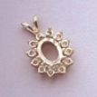 14kt Gold or Sterling Silver Oval Cabochon Cluster Pendant Setting (8x6 - 10x8mm)