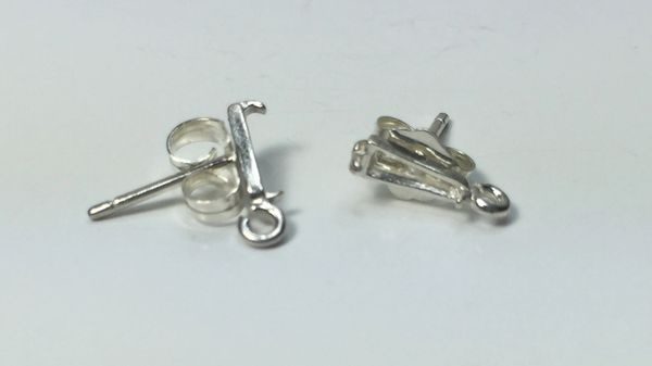 Two Sterling Silver 5x2.5mm Baguette Dangle Pre-Notched Earring Settings