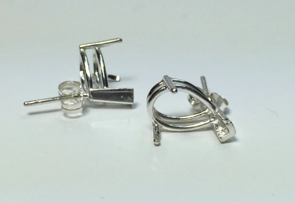 Two Sterling Silver Pear Vee-Prong Pre-Notched Earring Settings (6x4mm-15x10mm)