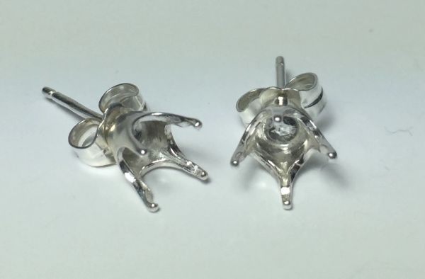 Two Sterling Silver Round (4-Prong) Pre-Notched Earring Settings (1.6-6mm)