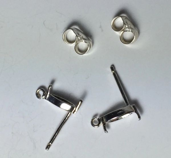 Two Sterling Silver Marquise (2-Prong) Wire Pre-Notched Dangle Earring Settings (4x2mm-6x3mm)